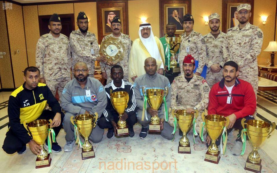 وكيل الحرس الوطني بالقطاع الغربي يستقبل اللاعبين والمشاركين في بطولة شهداء الواجب