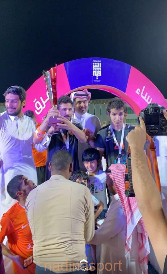 """رئيس هيئة الرياضة """" الفيصل """" يتوج كاظمة ببطولة رابطة فرق الأحياء بمحافظة الأحساء"""