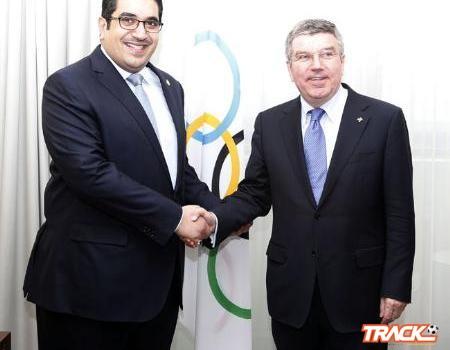 رئيس اللجنة الأولمبية الدولية يستقبل الأمير نواف بن فيصل